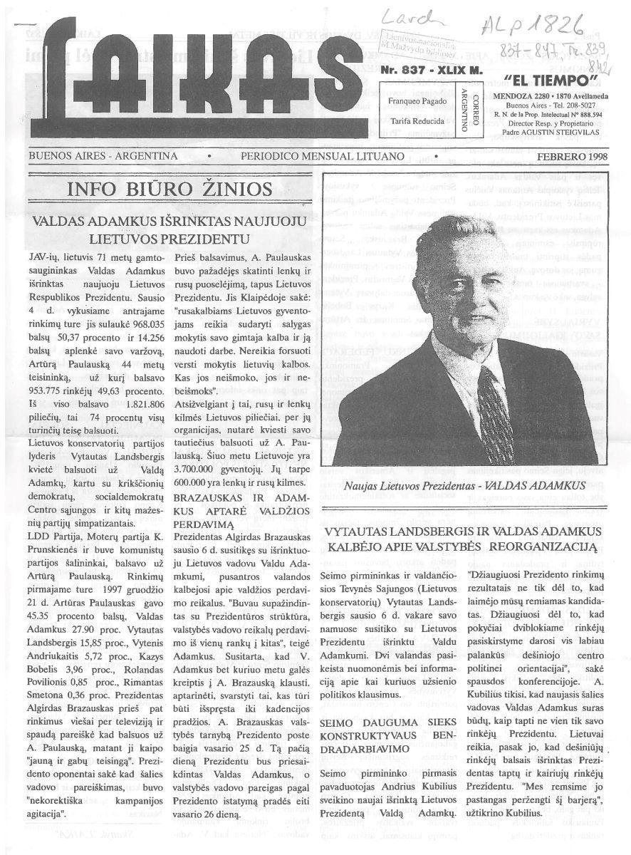 1998 m. vasaris, Nr. 837
