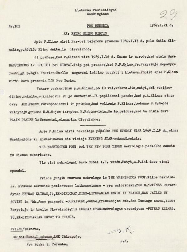 Lietuvos pasiuntinybės Vašingtone 1969 m. sausio 21 d. pranešimas apie Petro Klimo mirtį.