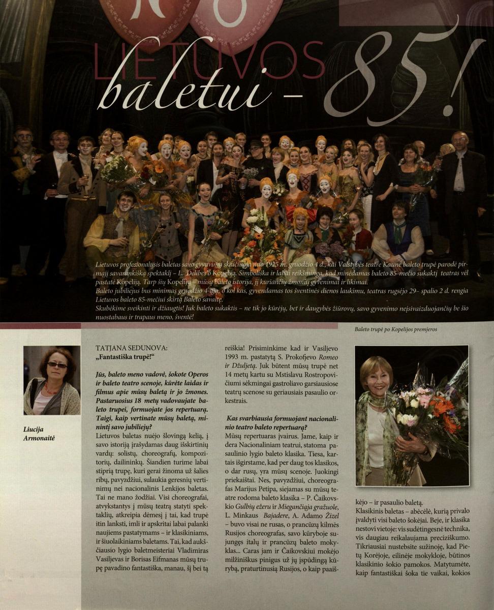 Armonaitė L. Lietuvos baletui – 85! // Bravissimo. 2010, Nr. 7-8, p.6-9.