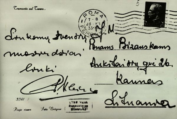 P. Klimo laiškas-sveikinimas diplomatui K. Bizauskui. 1933 m.