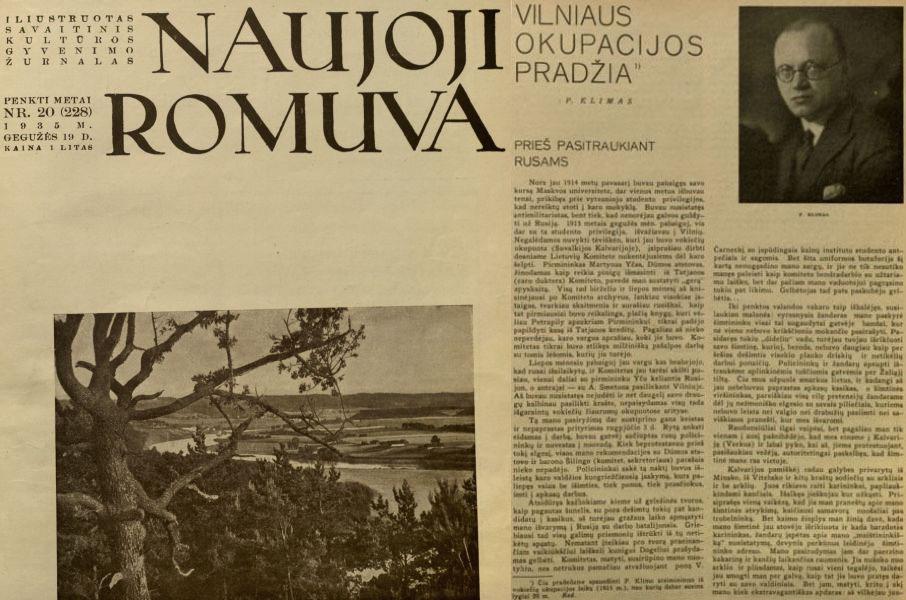Klimas P. Vilniaus okupacijos pradžia // Naujoji Romuva. 1935, nr. 20, p. 437–440.