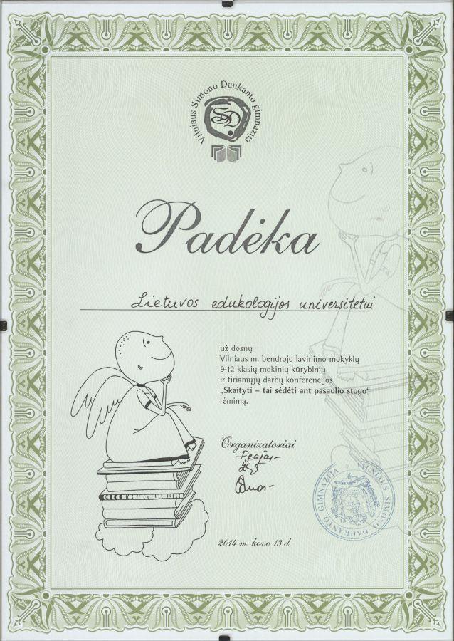 Vilniaus Simono Daukanto gimnazijos padėka Lietuvos edukologijos universitetui. 2014 m. kovo 13 d.