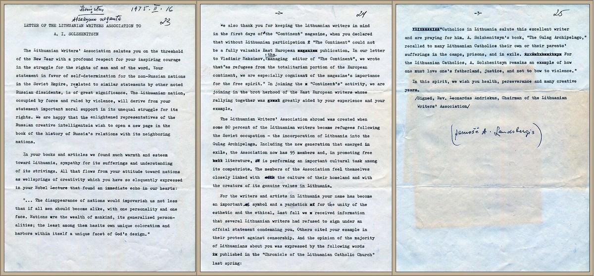 LRD laiškas rašytojui Aleksandrui I. Solženicynui, 1975 m. vasario 16 d.
