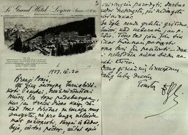 P. Klimo laiškas M. Urbšienei. 1933 m.