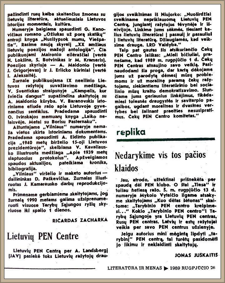 """LRD sveikinimas Lietuvos rašytojų sąjungai, paskelbtas """"Literatūroje ir mene"""", 1989 m. rugpjūčio 26 d."""