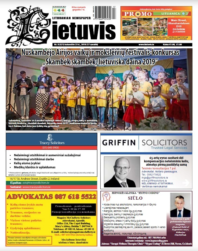 """""""Lietuvio"""" antraštinis puslapis, 2019 m. balandžio 23 d. Nr. 8"""