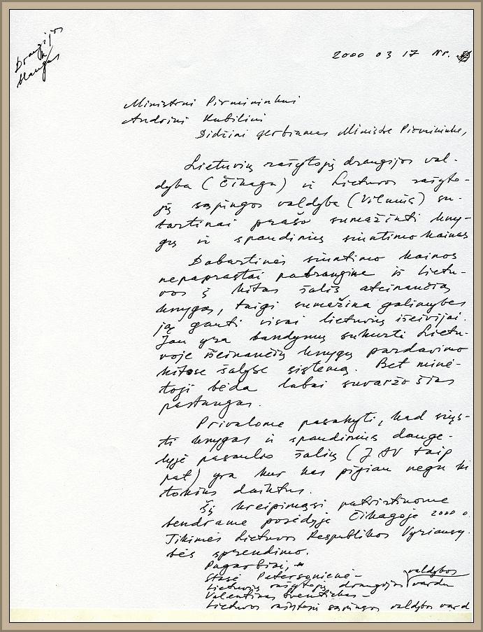 LRD ir LRS laiško tuometiniam Lietuvos ministrui pirmininkui Andriui Kubiliui juodraštis, 2000 m. kovo 17 d.