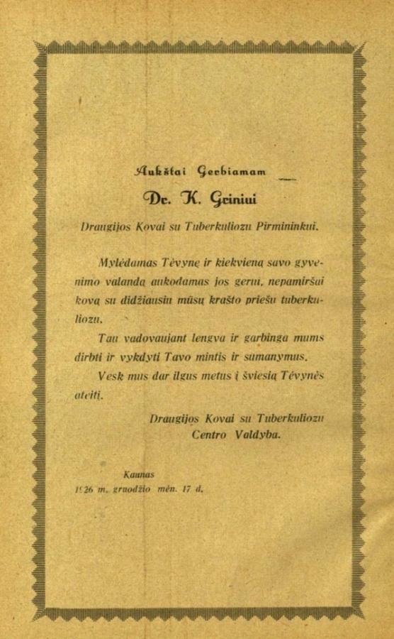 Draugijos kovai su tuberkulioze Centro valdybos kreipimasis-padėka K. Griniui. Kaunas, 1926 m. gruodžio 17 d.