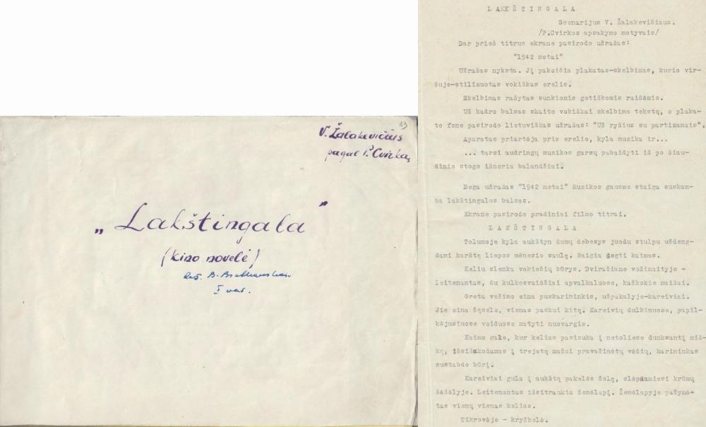 """Novelės """"Lakštingala"""" scenarijus keturių novelių filmui """"Gyvieji didvyriai"""". 1960 m. Mašinraštis. Montažinių lapų titulinis ir fragmentas."""