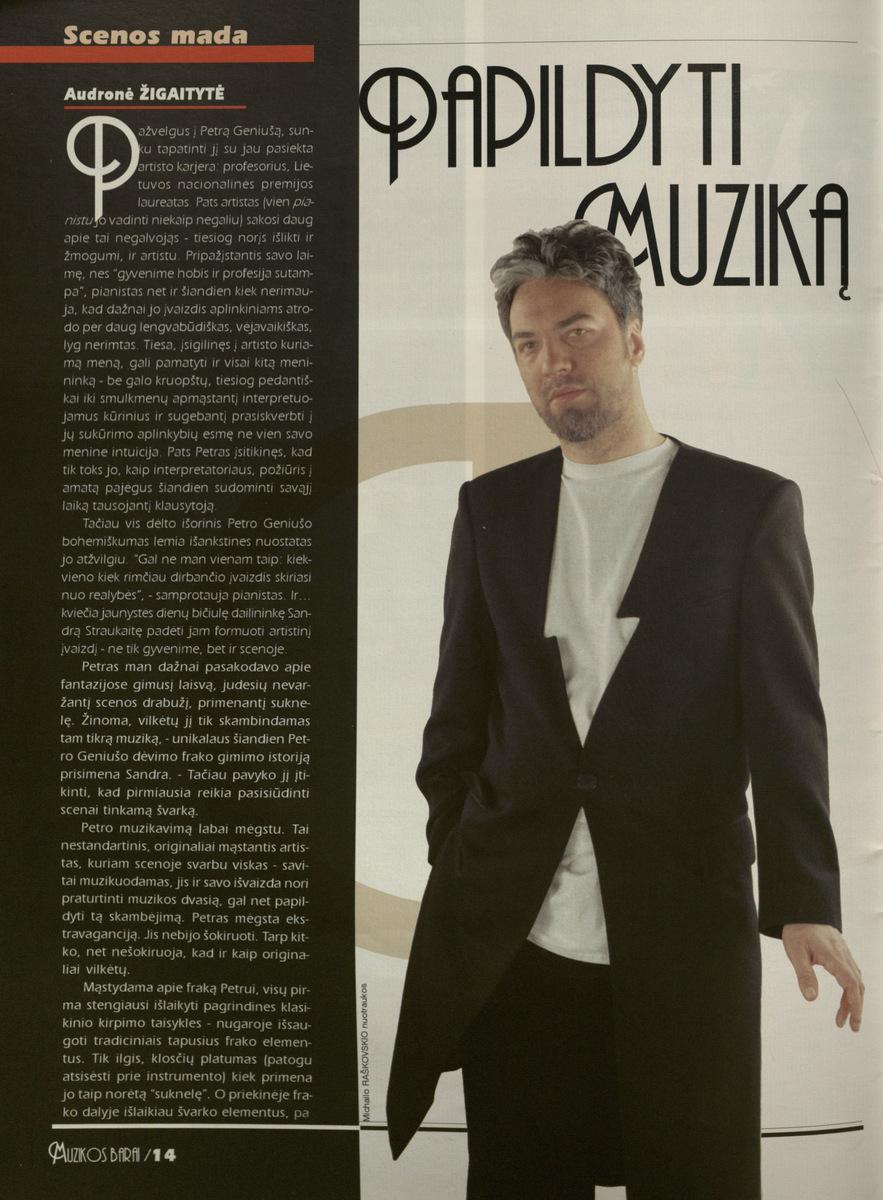 A. Žigaitytė. Papildyti muziką // Muzikos barai.- 2000, Nr.1-2, p.14-15.