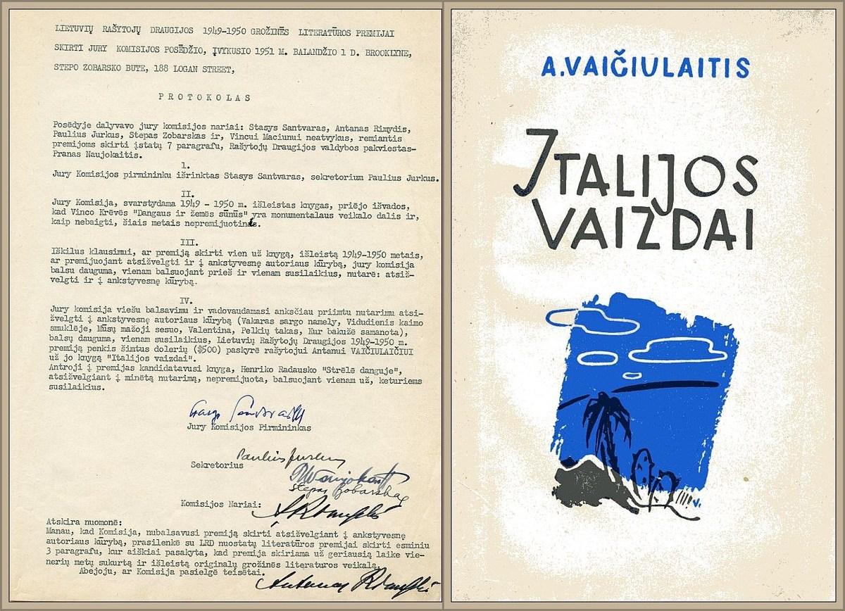 """LRD 1945–1950 metų grožinės literatūros premijos žiuri komisijos posėdžio protokolas, 1951 m. balandžio 1 d.<br /> LRD 1945–1950 metų grožinės literatūros premiją laimėjo A. Vaičiulaičio """"Italijos vaizdai"""" (Štutgartas: Venta, 1949)."""