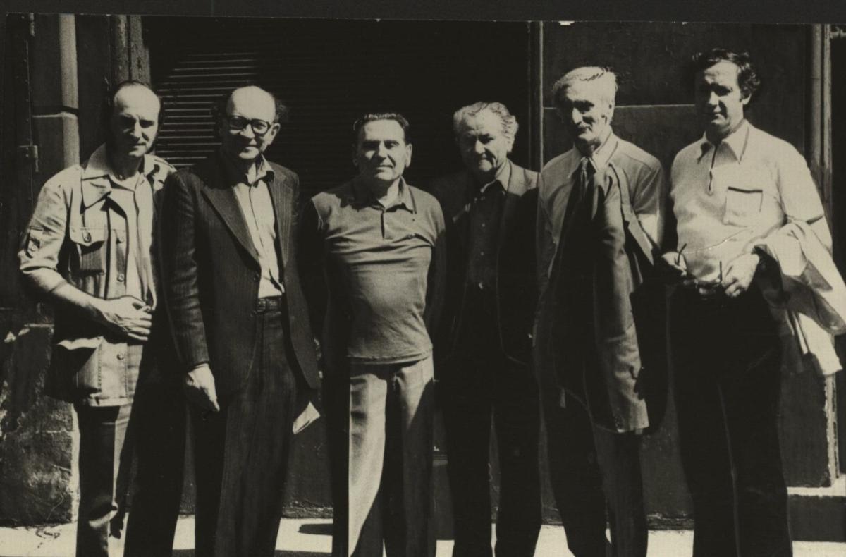 Dėstytojų susitikimas Rygoje. Iš dešinės: S. Dubauskas, L. Vladimirovas, V. Žukas, F. Rancanai, K. Veskimiagis ir D. Kaunas. 1983 m.