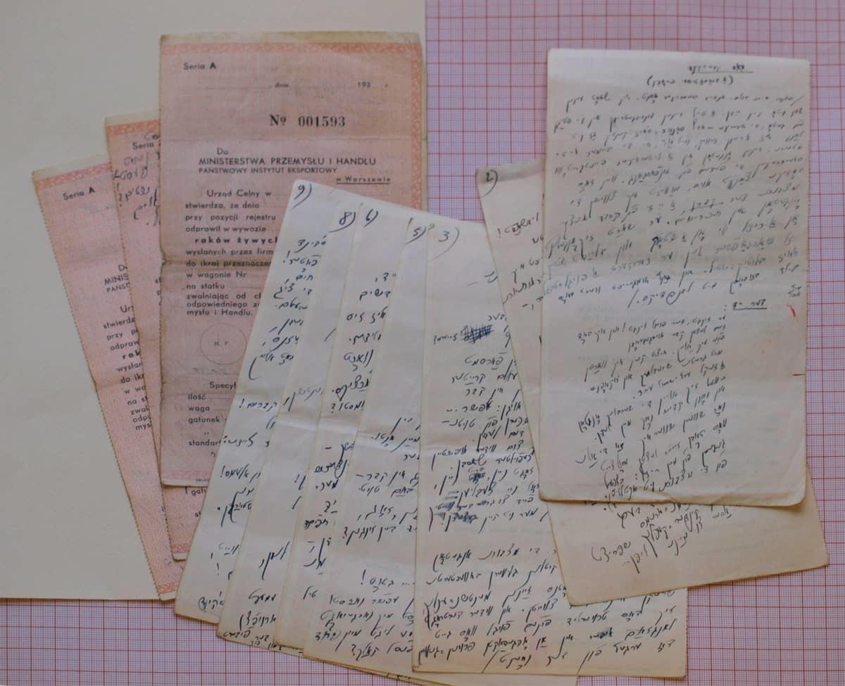 """Suckeverio dramatinės poemos """"Dos keyver-kind"""" (""""Kapo vaikas"""", užbaigta 1942 04 12) versija, surašyta Vilniaus gete švarioje blankų pusėje."""