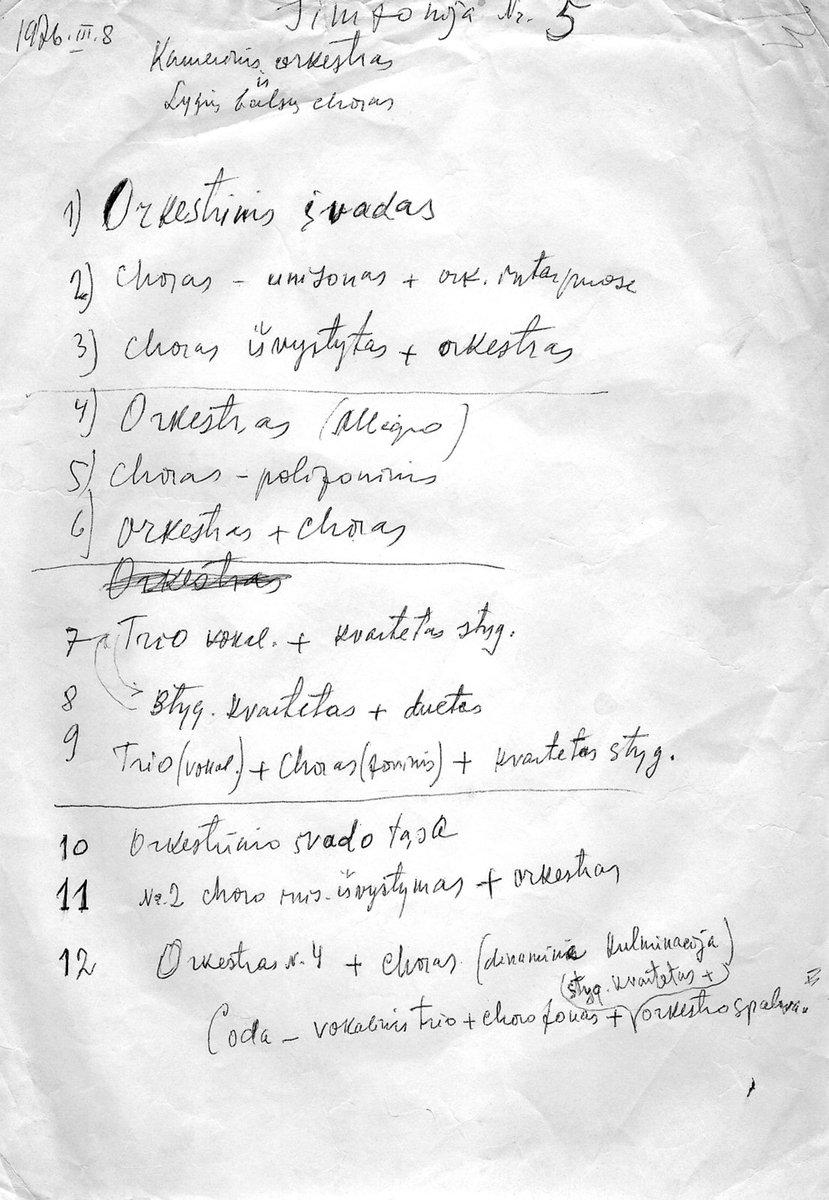 """Penktosios simfonijos """"Lygumų giesmės"""" pirmosios dalies pradinis planas, 1976 m."""