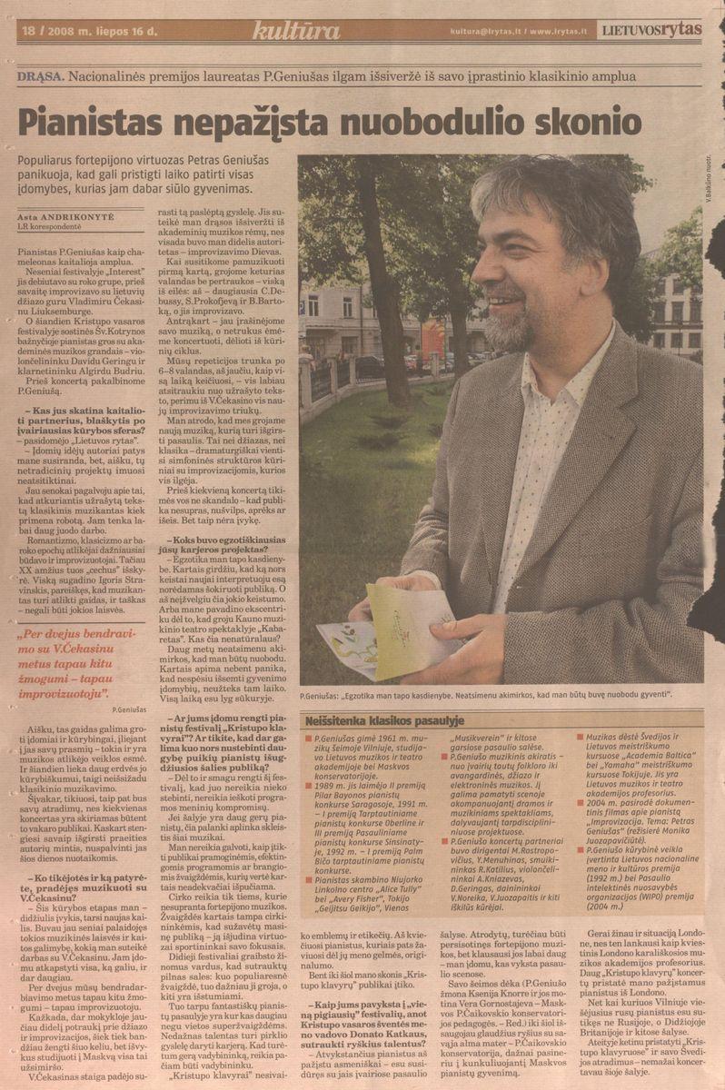 A. Andriskonytė. Pianistas nepažįsta nuobudulio skonios // Lietuvos rytas. - 2008.07.16, p. 18