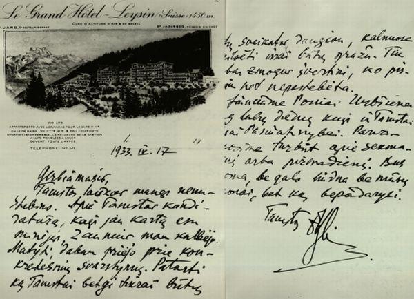 P. Klimo laiškas Lietuvos Užsienio reikalų ministrui J. Urbšiui. 1933 m.