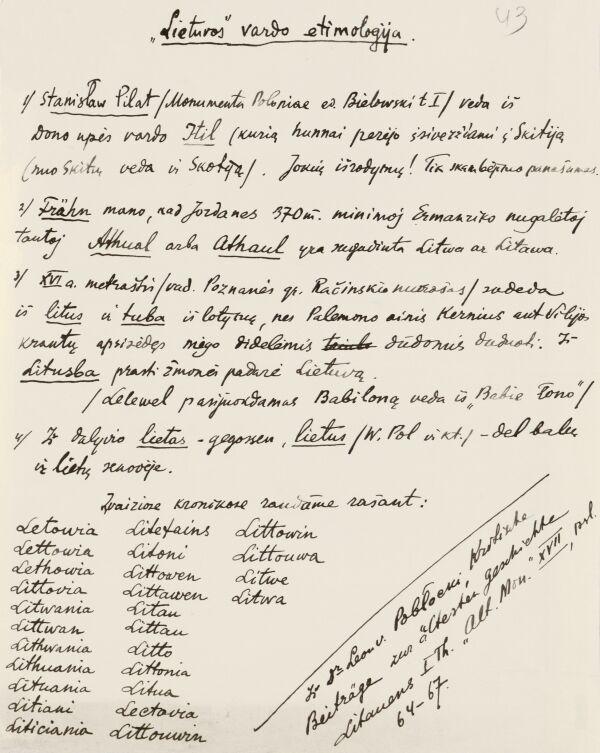 """Fragmentas iš Petro Klimo užrašų lietuvių kalbos ir istorijos klausimais. """"Lietuvos"""" vardo etimologija. Apie 1922 m."""