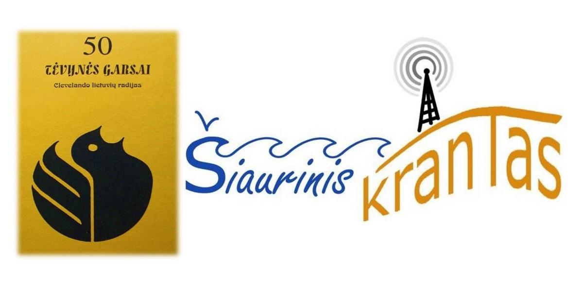 """Radijo laidos logotipų pavyzdžiai: kairėje 1999 m. naudotas """"Tėvynės garsų"""" logotipas, dešinėje – 2020 m. """"Šiaurinio kranto"""" logotipas."""