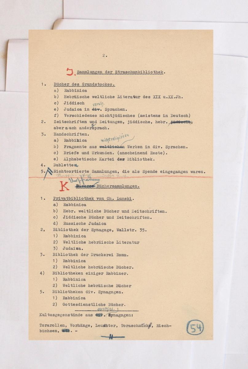 Ataskaita Rozenbergo štabui dėl Strašuno bibliotekos ir Chaiklo Lunskio asmeninės bibliotekos rūšiavimo. <br /> Lietuvos centrinis valstybės archyvas.