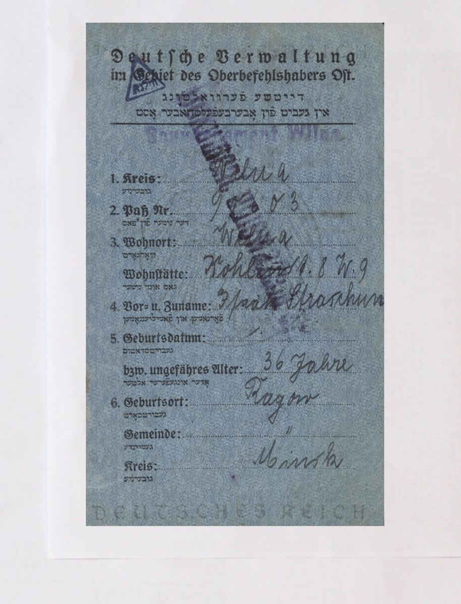 Izaoko Strašuno pasas, išduotas vokiečių karinės administracijos 1916 m.<br /> Lietuvos centrinis valstybės archyvas