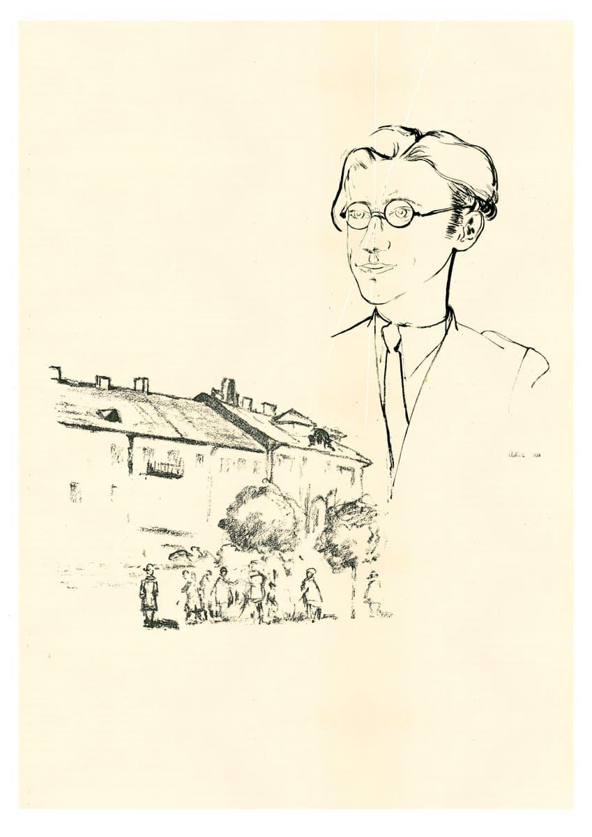 """Koliažas iš Jankelio Adlerio sukurto Avromo Suckeverio portreto (1937) ir Hermanno Struko graviūros """"Didžioji gatvė Vilniuje"""" (1918)."""