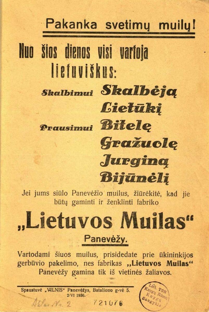 """""""Pakanka svetimų muilų! Nuo šios dienos visi vartoja <br /> lietuviškus …"""""""