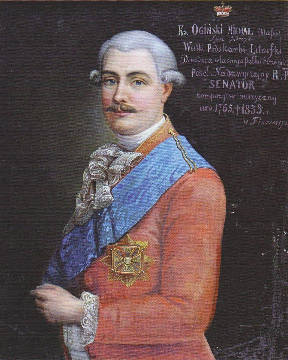 Kompozitorius, politikos veikėjas kunigaikštis Mykolas Kleopas Oginskis. Dail.  nežinomas. 1798 m. Originalas saugomas Nacionaliniame M. K. Čiurlionio muziejuje. Foto A. Kapčius