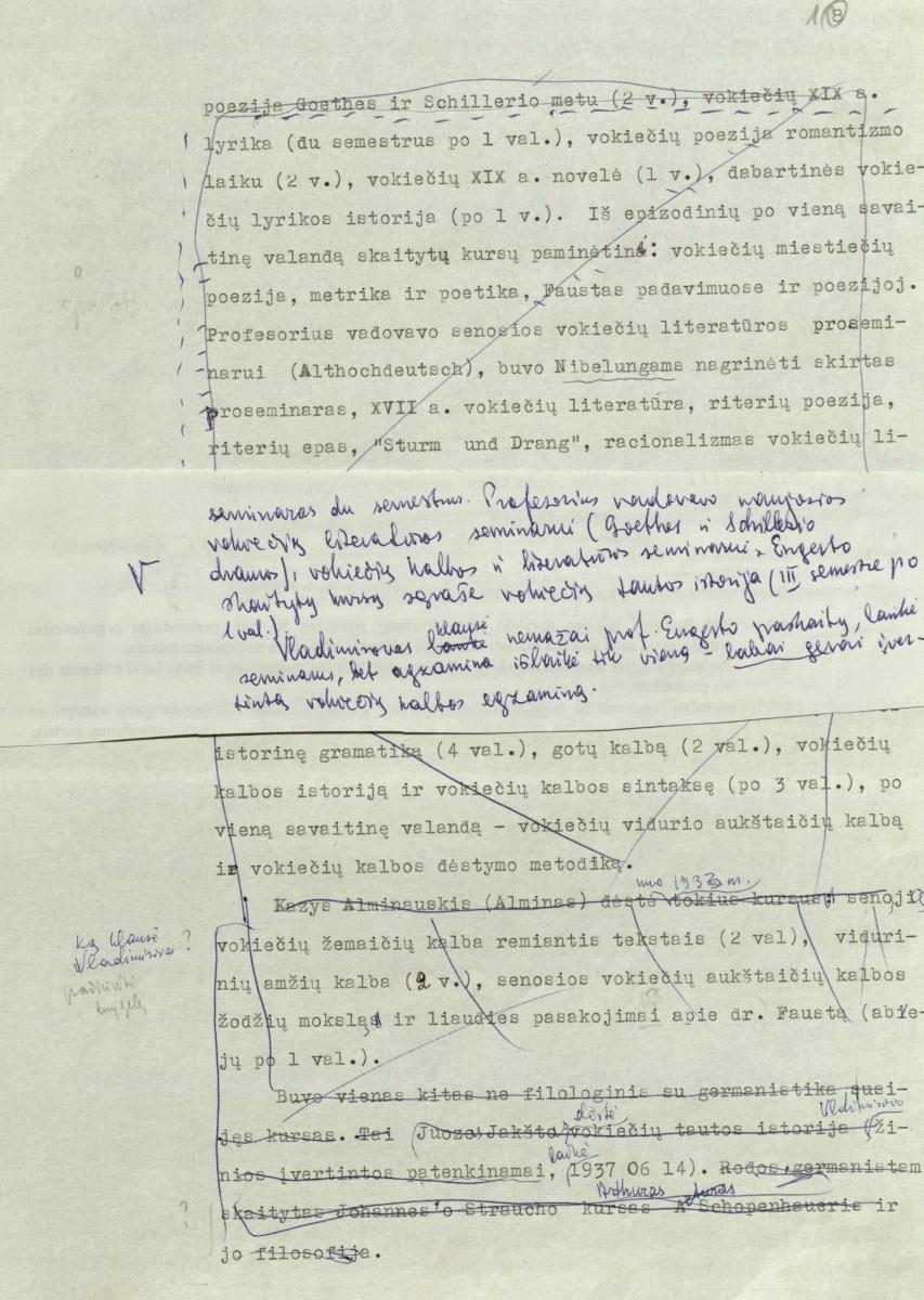 """Rankraštis apie """"Vokiečių kalbą ir literatūrą"""" 2 p."""