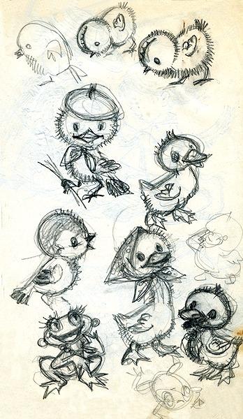 Iliustracijos eskizas. Popierius, pieštukas