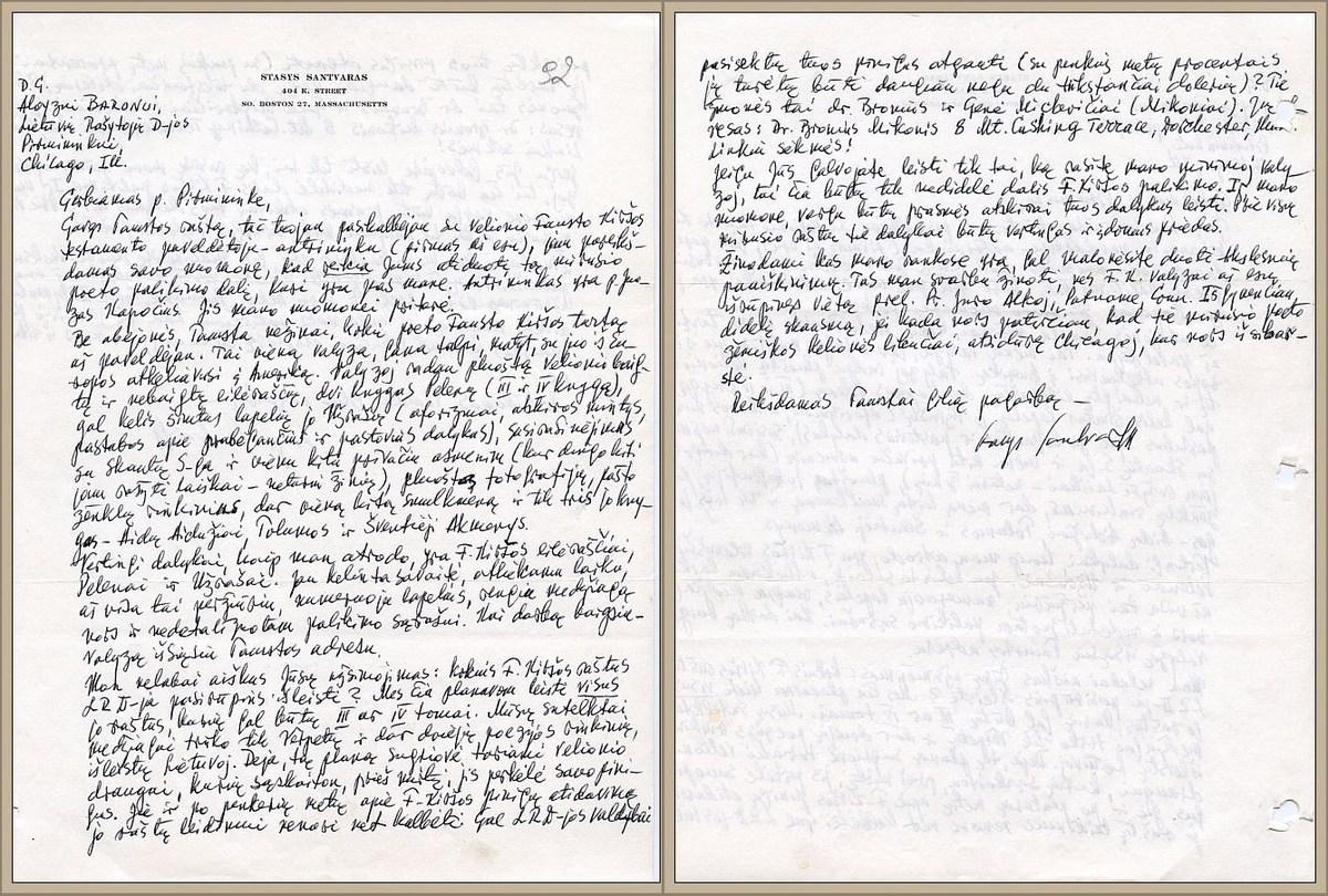 Stasio Santvaro laiškas dėl Fausto Kiršos palikimo ir planuojamų išleisti jo raštų (data nenurodyta).