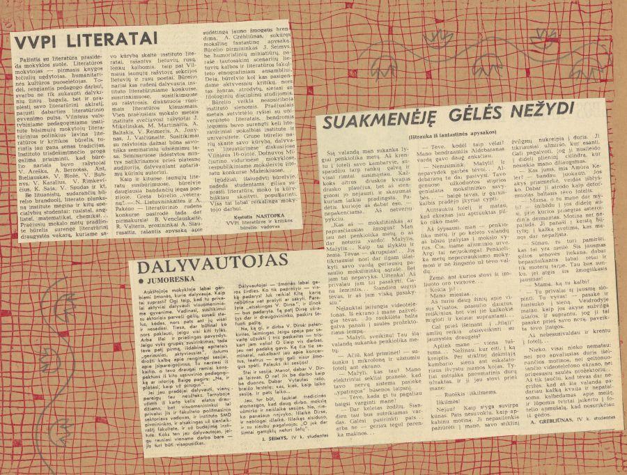 Iš Lituanistikos fakulteto studentų metraščių.<br />