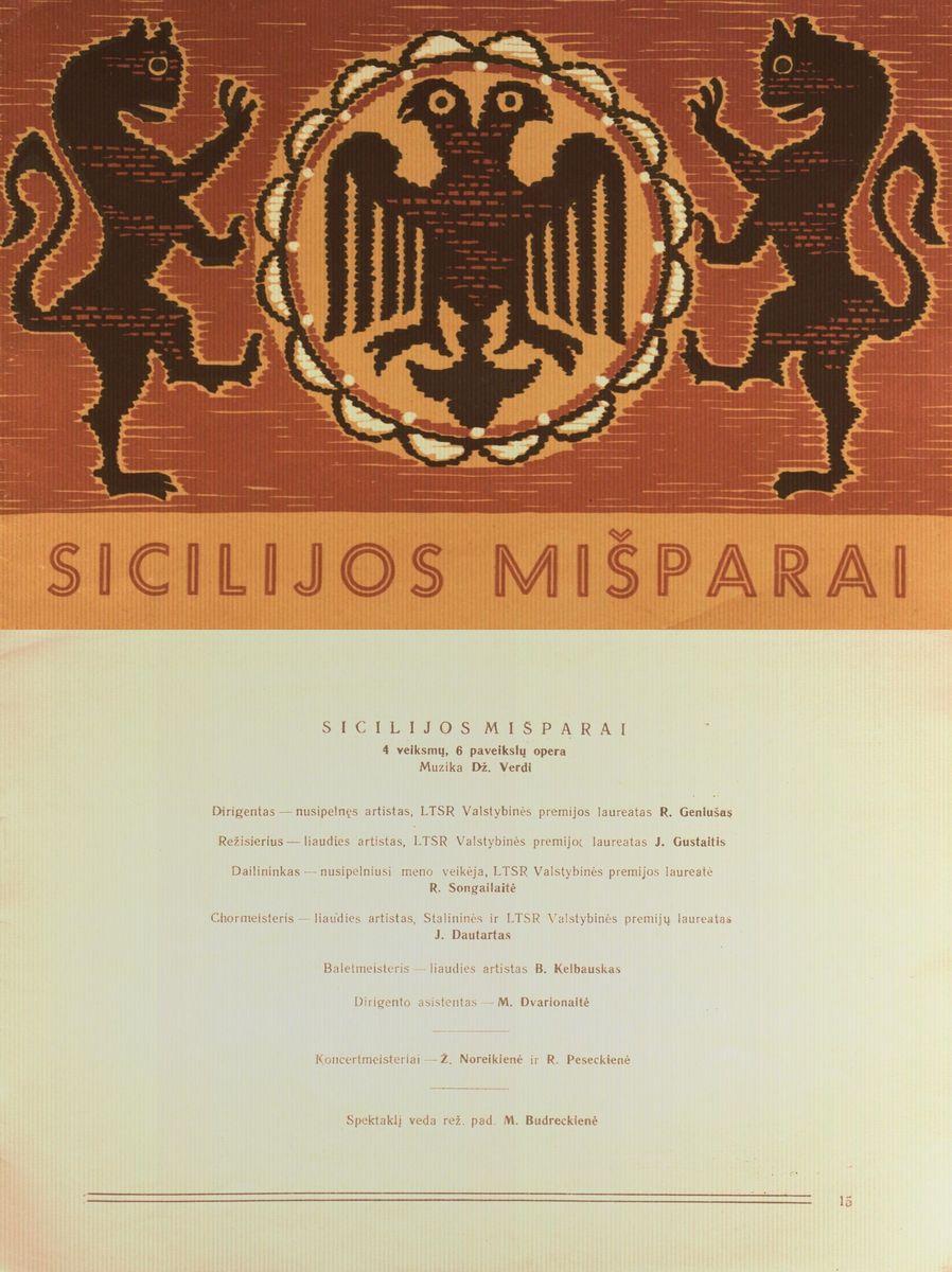 Sicilijos mišparai : Dž. Verdžio 4 veiksmų 6 pavadinimų opera. [1961] m.