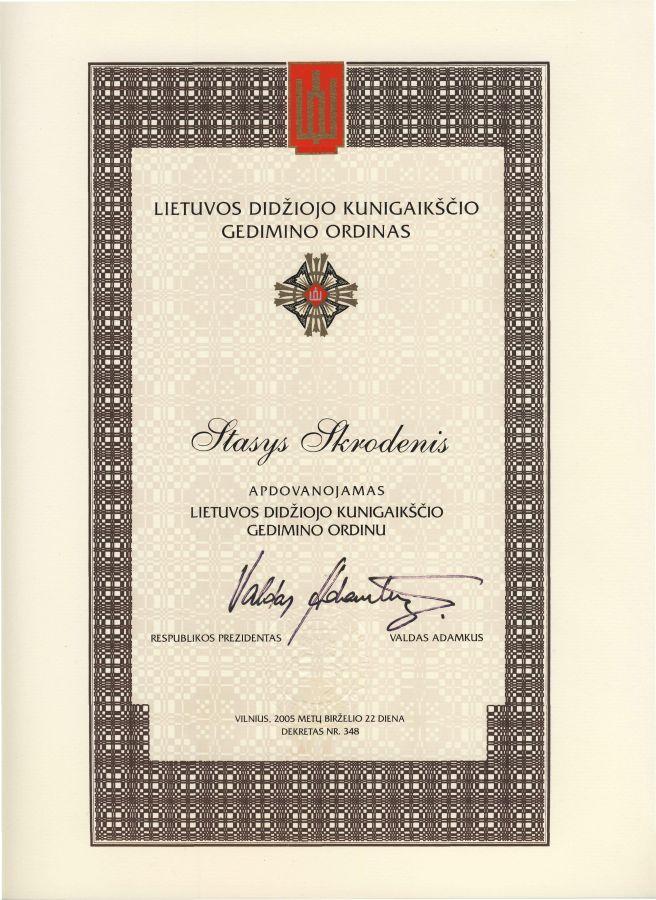 Buvusio LEU LF dėstytojo prof. S. Skrodenio Lietuvos didžiojo kunigaikščio Gedimino ordino Riterio kryžiaus diplomas. 2005 m. birželio 22 d.
