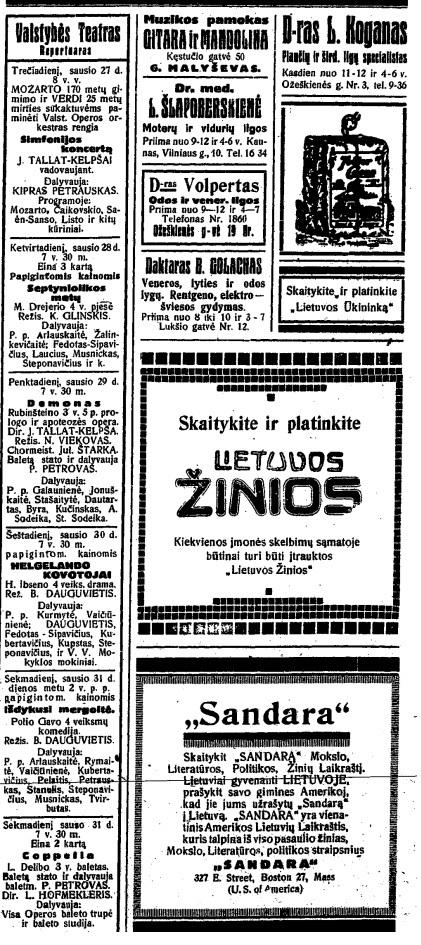 Lietuvos žinios. 1926 m. sausio 28 d.