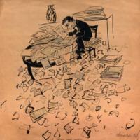 1960 Jis tvarko savo raštus.JPG