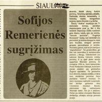 Rimkus, V. Sofijos Dembovskytės-Romerienės sugrįžimas // Šiaulių kraštas. 1991, liep. 12, p. 5.